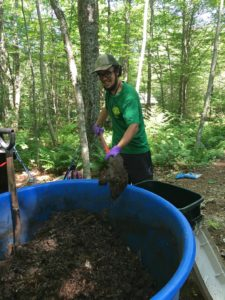 Caretaker stirring composting outhouse batch