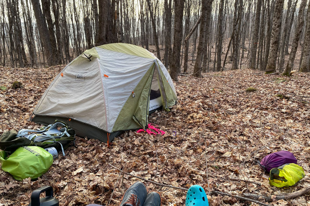 Tentsite at Willoughby State Forest.